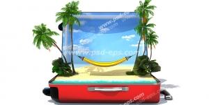 عکس با کیفیت تبلیغاتی ساحل زیبا داخل چمدان قرمز