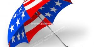 عکس با کیفیت تبلیغاتی یک چتر که روی آن پرچم آمریکا حک شده است