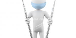 طرح فانتزی شغل دندانپزشک با ابزار دندانپزشکی در دست و کلاه و ماسک متخصص دندانپزشکی بر روی صورت