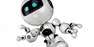 عکس با کیفیت تبلیغاتی ربات در حالت پرش زده به سمت جلو