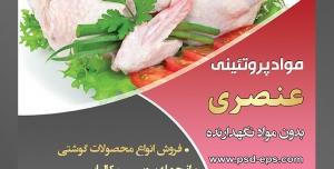 طرح لایه باز تراکت فروشگاه مواد پروتئینی گوشت مرغ با محوریت تصویر مرغ پاک شده تزئین شده با جعفری