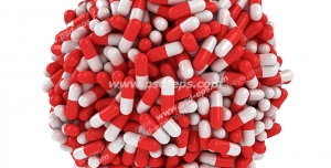 عکس با کیفیت تبلیغاتی کپسول های قرمز و سفید که به صورت کره به هم فشرده شده اند