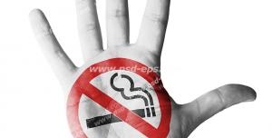 عکس با کیفیت تبلیغاتی علامت سیگار کشیدن ممنوع در کف دست