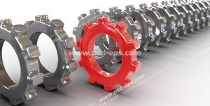عکس با کیفیت تبلیغات چرخ دنده قرمز در کنار چرخ دنده های نقره ای