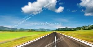 عکس با کیفیت تبلیغات جاده سر سبز زیبا با آسمان آبی