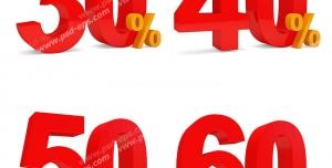 عکس با کیفیت تبلیغاتی اعداد سه بعدی قرمز رنگ سی و چهل و پنجاه و شصت درصد تخفیف