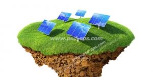 عکس با کیفیت تبلیغاتی دیجیتالی پنج صفحه مبدل انرژی خورشیدی به الکتریکی روی یک تکه از زمین چمن جدا شده