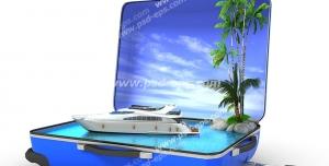 عکس با کیفیت تبلیغاتی قایق شناور بر روی آب و درختان داخل چمدان آبی