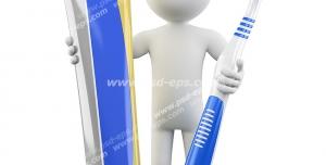 طرح فانتزی نمادین توصیه به بهداشت دهان و دندان و مسواک با آدمکی با مسواک و خمیر دندان در دست