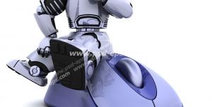 عکس با کیفیت تبلیغاتی ربات نشسته به روی یک موس