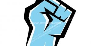 عکس با کیفیت تبلیغات لوگو دست مشت شده به رنگ آبی