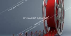 عکس با کیفیت تبلیغاتی رول فیلم یا نوار فیلم سینمایی که به صورت فرش قرمز روی زمین پهن شده