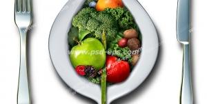 عکس با کیفیت تبلیغاتی بشقاب به شکل برگ که داخل آن میوه و سبزیجات است و چاقو و چنگال