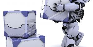 عکس با کیفیت تبلیغاتی ربات در حال جابجایی و چیدن بسته ها