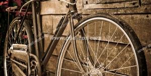 عکس با کیفیت تبلیغات دوچرخه قدیمی در کنار کلبه چوبی