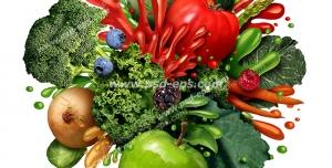 عکس با کیفیت تبلیغاتی گلوله ای از میوه و سبزیجات