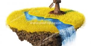 عکس با کیفیت تبلیغاتی گندم زار طلایی که از میان آن یک جویبار جاری است و یک آسیاب بادی در کنار تصویر قرار دارد