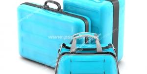 عکس با کیفیت تبلیغاتی دو چمدان و یک کیف دستی به رنگ آبی