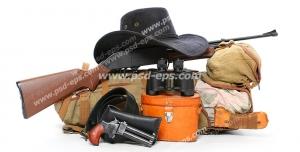 لوازم شکار شامل کلاه لبه دار ، اسلحه شکاری ، کوله پشتی به همراه چاقو ، پتو و کیسه خواب ، کلت ، دوربین شکاری همراه با کیف