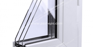 عکس با کیفیت نمای نزدیک از برش کوچکی از پنجره دو جداره