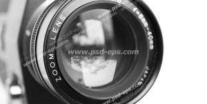 عکس با کیفیت سیاه و سفید نمای نزدیک از لنز دوربین عکاسی