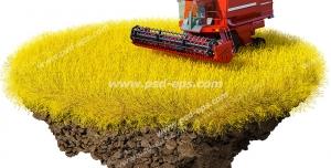 عکس با کیفیت تبلیغاتی یک قطعه جدا شده از زمن گندم زار که یک دروگر قرمز در حال درو کردن گندم روی آن قرار دارد