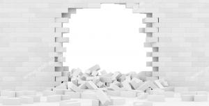 عکس با کیفیت تبلیغاتی دیوار سفید اتاق که تخریب شده است