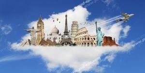 عکس با کیفیت تبلیغاتی جاذبه های گردشگری دنیا بر روی یک ابر