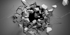 عکس با کیفیت تبلیغاتی دیوار اتاق تخریب شده توسط گوی تخریب