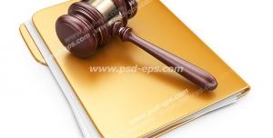 عکس با کیفیت تبلیغاتی چکش عدالت بر روی پرونده