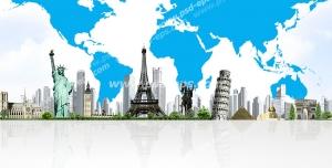 عکس با کیفیت تبلیغاتی جاذبه های گردشگری دنیا و آسمان به شکل کره زمین