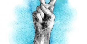 عکس با کیفیت تبلیغاتی نقاشی علامت پیروزی با دست