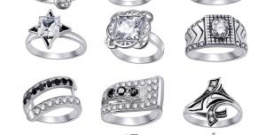 عکس با کیفیت تبلیغاتی دوازده مدل انگشتر طلا سفید زیبا با نگین های طرح برلیان