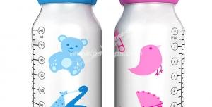 عکس با کیفیت تبلیغاتی دو شیشه شیر به رنگ صورتی و آبی