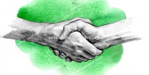 عکس با کیفیت تبلیغاتی دو دست در حال دست دادن