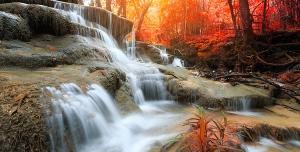 عکس با کیفیت تبلیغاتی آبشار زیبا در جنگل پاییزی