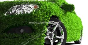 عکس با کیفیت تبلیغاتی نمای جلوی ماشین پوشیده شده از چمن