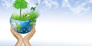 عکس با کیفیت تبلیغاتی کره زمین نیمه که از آن سبزه و درخت روییده