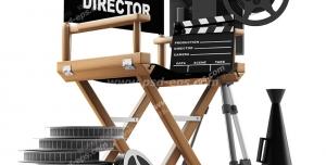 عکس با کیفیت تبلیغاتی لوازم لازم کارگردان از جمله صندلی کلاکت فیلمبرداری دوربین سه پایه رول فیلم یا نوار فیلم سینمایی مگافون کارگردانی