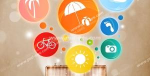عکس با کیفیت تبلیغاتی چمدان که از آن حباب های رنگی بیرون آمده که روی هر کدام از آنها آبجکت های مختلف است