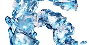 عکس با کیفیت تبلیغات عدد شش به شکل یخ ذوب شده