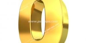 عکس با کیفیت تبلیغات عدد صفر سه بعدی طلایی رنگ
