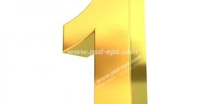 عکس با کیفیت تبلیغات عدد یک سه بعدی طلایی رنگ