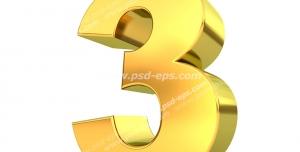 عکس با کیفیت تبلیغات عدد سه طلایی سه بعدی