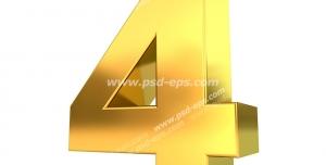 عکس با کیفیت تبلیغات عدد چهار سه بعدی طلایی رنگ