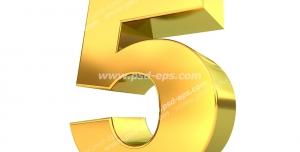 عکس با کیفیت تبلیغات عدد پنج سه بعدی طلایی رنگ