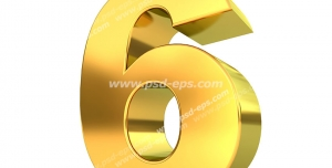 عکس با کیفیت تبلیغات عدد شیش سه بعدی طلایی رنگ