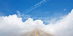 عکس با کیفیت تبلیغات جاده در بین ابر ها