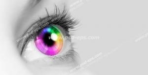 عکس با کیفیت تبلیغاتی چشم رنگین کمانی