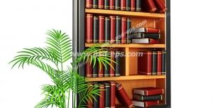 عکس با کیفیت تبلیغاتی کتابخانه داخل صفحه موبایل با یک گلدان کوچک کنار آن